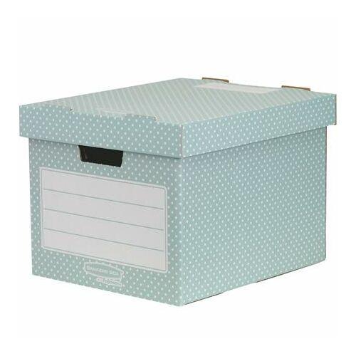 """Tároló doboz, karton, 33,3x28,5x39 cm FELLOWES, """"Style"""", zöld-fehér 4db/csom"""