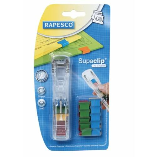 """Kapocsadagoló, színes kapcsokkal, RAPESCO, """"Supaclip 40"""", átlátszó"""