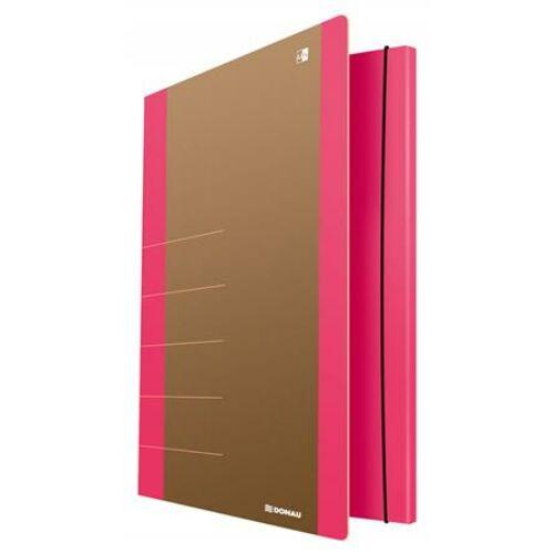 "Gumis mappa, karton, A4, DONAU ""Life"", neon rózsaszín"