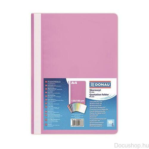 Gyorsfűző, PP, A4, DONAU, rózsaszín (10db/csom)