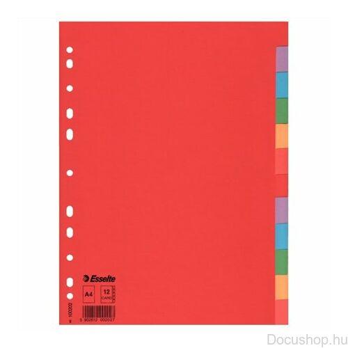 """Regiszter, karton, A4, 12 részes, ESSELTE """"Economy"""", színes"""