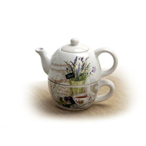 Teáskanna és csésze készlet, egyszemélyes, levendula mintás, 24cl