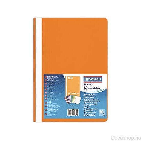 Gyorsfűző, PP, A4, DONAU, narancssárga (10db/csom)