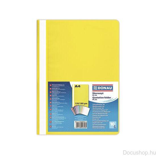 Gyorsfűző, PP, A4, DONAU, citromsárga (10db/csom)