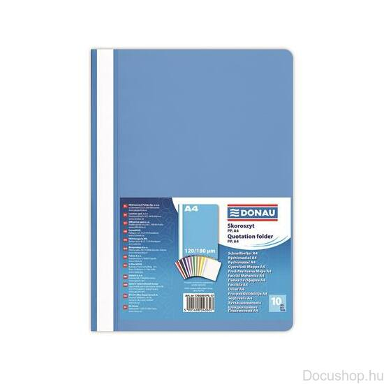 Gyorsfűző, PP, A4, DONAU, kék (10db/csom)