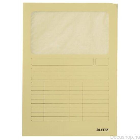 Mappa, ablakos, karton, A4, LEITZ, sárga